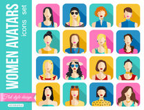 Set of Women Avatars Icons. Colorful Female Faces Royalty Free Stock Images