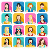 Set of Women Avatars Icons. Colorful Female Faces Icons Set. Flat Style Design. Stock Image