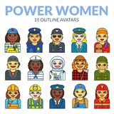Set of women avatars. Of strong professions, vector illustration people in line art style Stock Photography