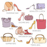 Set of women bags ans shoes. Card can be used for holiday cards, shopping invitation, postcard or fashion website banner. Bag shop design. Fashion shoes store Royalty Free Stock Image