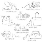 Set of women bags ans shoes. royalty free stock photography