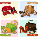 Set of women bags shoes and accessories Stock Photography