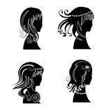 Set of women with beauty hair Royalty Free Stock Photography