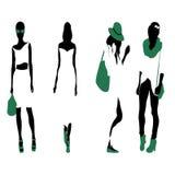 Set of women black silhouettes,. Four silhouettes of women Stock Photo