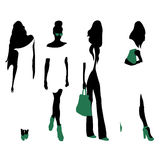 Set of women black silhouettes,. Four silhouettes of women royalty free illustration