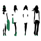 Set of women black silhouettes, Royalty Free Stock Image