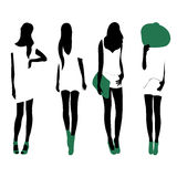 Set of women black silhouettes,. Four silhouettes of women Royalty Free Stock Photography