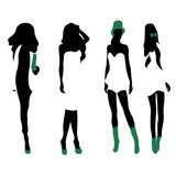 Set of women black silhouettes,. Four silhouettes of women vector illustration