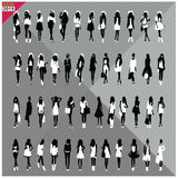 Set of 48 women black silhouettes with white cloths on top,editable, collection Stock Photo