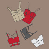 Set of women bra, doodle underwear Royalty Free Stock Images