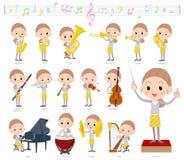 Behind knot hair yellow wear women_classic music