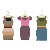 Set Of Women Clothes With Hangers Stock Photography