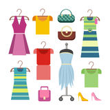 Set of Women Clothes Items. Editable Elements. Of ladies clothing  on white. New summer collection. Sale. Dresses and accessories. Shopping center. Fashionable Royalty Free Stock Photography