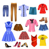Set of women clothes. Vector set of women clothes  on a white background Royalty Free Stock Images