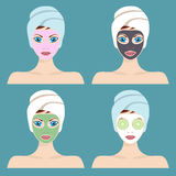 Set of 4 women with cosmetic face masks. Royalty Free Stock Photos