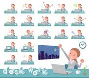 Flat type Behind knot hair women_desk work