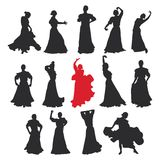 Set of women in dress stay in dancing pose. flamenco dancer Spanish regions of Andalusia, Extremadura and Murcia. black silhouette. White background brush Royalty Free Stock Photography