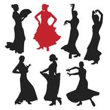 Set of women in dress stay in dancing pose. flamenco dancer Spanish regions of Andalusia, Extremadura and Murcia. black silhouette. White background brush Royalty Free Stock Image