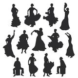 Set of women in dress stay in dancing pose. flamenco dancer Spanish regions of Andalusia, Extremadura and Murcia, Cajon percussion. Instrument. black silhouette Stock Photography
