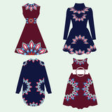 Set of women dresses with Ornament Pattern Royalty Free Stock Photo