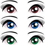 Set of Women eyes with long eyelashes. Blue, brown, green. Vector. Stock Images