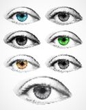 Set women eyes made from dots. Vector Stock Photo