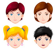 Set of women faces vector illustration