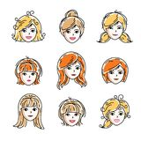Set of women faces, human heads. Different vector characters lik. E redhead and blonde females, attractive ladies face features collection Stock Photography