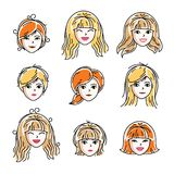 Set of women faces, human heads. Different vector characters lik. E redhead and blonde females, attractive ladies face features collection Stock Photo
