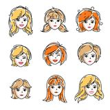 Set of women faces, human heads. Different vector characters lik. E redhead and blonde females, attractive ladies face features collection Royalty Free Stock Photos