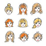 Set of women faces, human heads. Different vector characters lik. E redhead and blonde females, attractive ladies face features collection Stock Photos