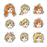 Set of women faces, human heads. Different vector characters lik. E redhead and blonde females, attractive ladies face features collection Stock Images