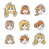 Set of women faces, human heads. Different vector characters. Set of women faces, human heads. Different vector characters like redhead and blonde females Royalty Free Stock Photos