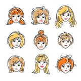 Set of women faces, human heads. Different vector characters. Set of women faces, human heads. Different vector characters like redhead and blonde females Royalty Free Stock Images