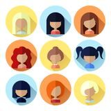 Set of Women Faces Icons in Flat Design Royalty Free Stock Photography