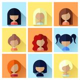 Set of Women Faces Icons in Flat Design Royalty Free Stock Photo