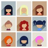 Set of Women Faces Icons in Flat Design Stock Images