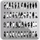 Set of 48 women,girl black silhouettes with white cloths on top,collection. Set of 48 women,girl black silhouettes with white cloths on top,totally editable royalty free illustration