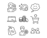 Women headhunting, Discount tags and Banking money icons. Clean dishes, Speech bubble and Support signs. Set of Women headhunting, Discount tags and Banking Royalty Free Stock Image