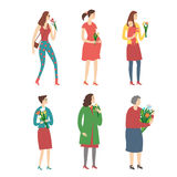 Set of women holding a bouquets of flowers. Set of different age women holding a bouquets of flowers. Woman`s, Mother`s Day, love and beauty illustration for Stock Photo