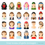 Set of women icons in flat style. Different age and style of youth movements Stock Photography