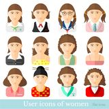 Set of women icons in flat style different occupations age royalty free illustration