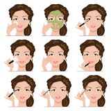 Set of women with make-up Royalty Free Stock Images