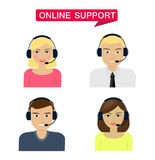 Set of women, men telemarketer, call center operator, hot line, online support Stock Photo