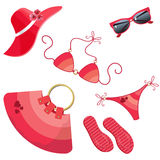 Set for women_red Stock Photo