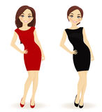 Set of women in red and black dresses Royalty Free Stock Photos