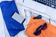 Set of women`s accessories and gadgets Stock Photos