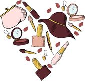 Set of women`s accessories Gold Marsala stock illustration