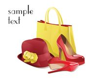 Set of women`s accessories with red shoes. Vector stock illustration