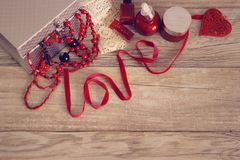 Set of women`s accessories in red and silver colors. stock photos